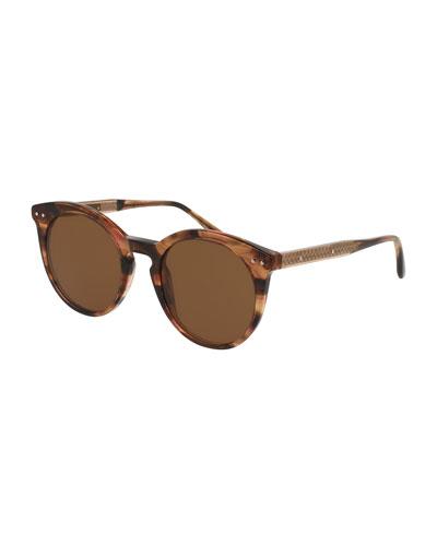 Round Monochromatic Transparent Sunglasses, Brown Havana