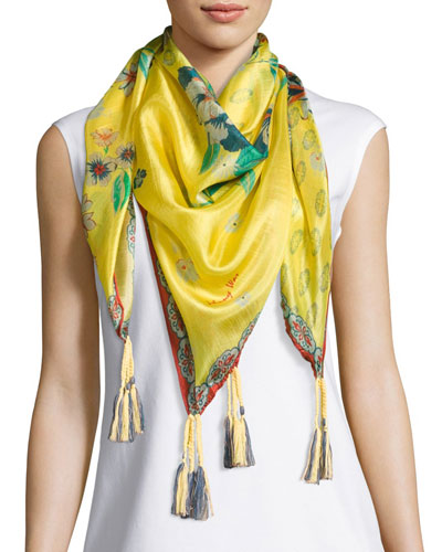 Nancy Printed Silk Tassel Scarf