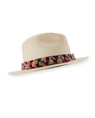 Maia Straw Fedora Hat, Tan