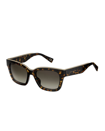 Twist Square Sunglasses, Dark Havana