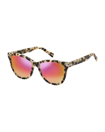 Mirrored Iridescent Cat-Eye Sunglasses, Pink Havana