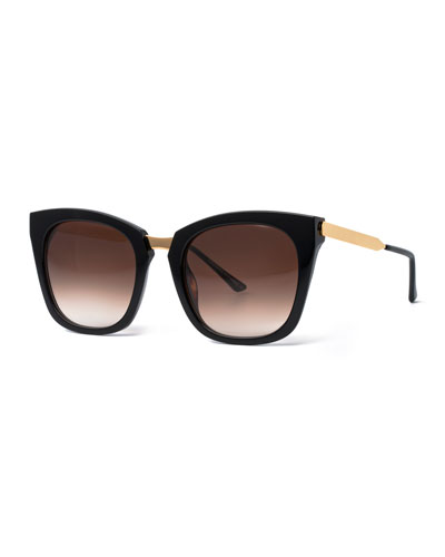 Narcissy Square Acetate Sunglasses, Black