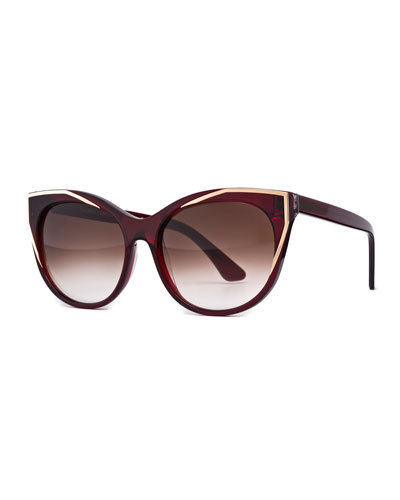 Polygamy Oversized Cat-Eye Sunglasses, Red