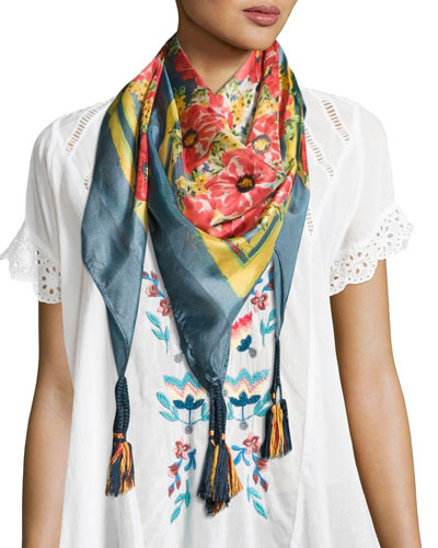 Printed Silk Georgette Scarf, Multicolor