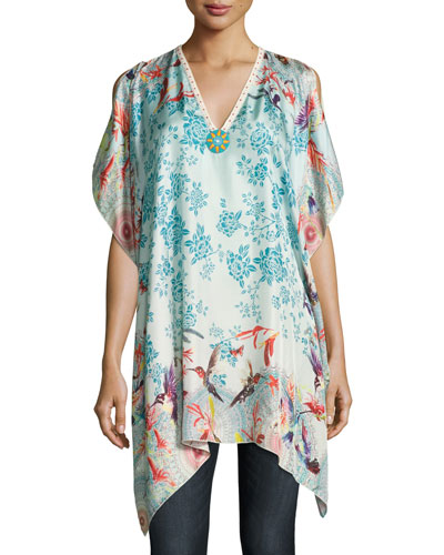 Hummingbird Silk Printed Poncho, Plus Size