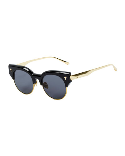 ADCC II Round Semi-Rimless Sunglasses, Black/Gold