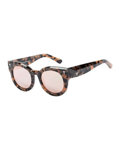 A Dead Coffin Club Round Faceted Sunglasses, Orange Tortoise
