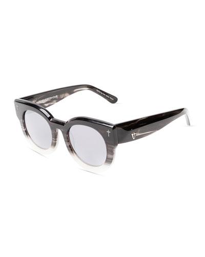 A Dead Coffin Club Round Faceted Sunglasses, Black/White