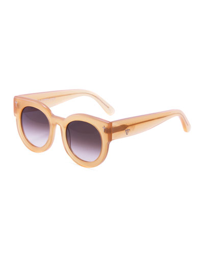 A Dead Coffin Club Round Faceted Sunglasses, Orange/Brown