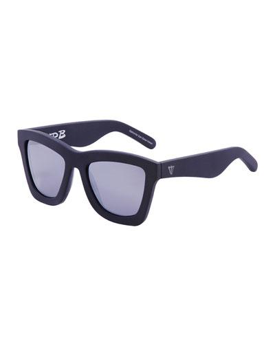 DB Square Mirrored Sunglasses, Black/Silver