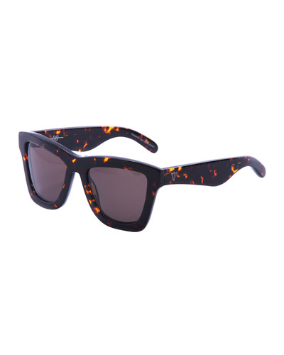 DB Square Gradient Sunglasses, Brown Tortoise