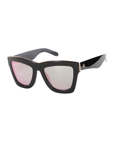 DB Square Mirrored Sunglasses, Black/Rose