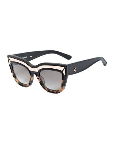 VALLEY EYEWEAR Marmont Limited Edition Cat-Eye Sunglasses, Black/Orange Tortoise in Black-Peach Tort