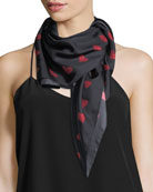 Paper Heart Square Silk Twill Scarf, Black/Red