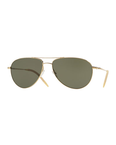 Benedict Polarized Aviator Sunglasses, Green