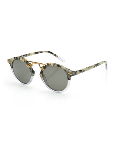 St. Louis Round Monochromatic Sunglasses w/ 24k Gold Plate, Gray Tortoise/Clear