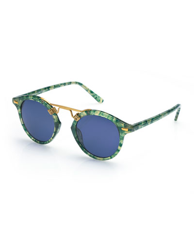 St. Louis Round Monochromatic Sunglasses, Blue/Green Tortoise
