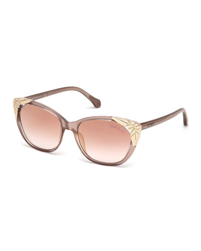 Capped Cat-Eye Sunglasses, Rose