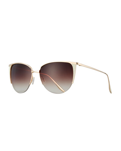 Devlin Squared Cat-Eye Sunglasses, Gold