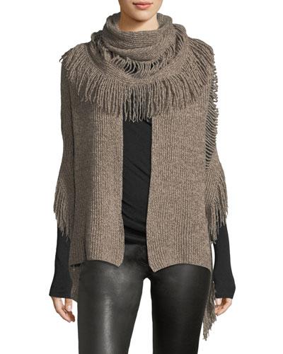 Oversized Cashmere-Wool Fringe Scarf