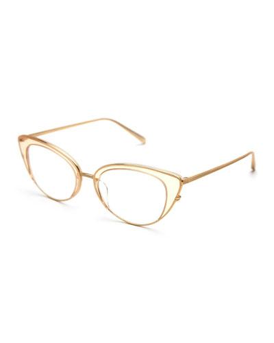 Clara Titanium Cat-Eye Optical Frames, Champagne