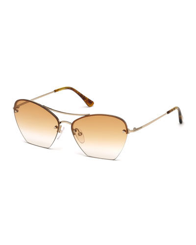 Annabel Cutoff Aviator Cat-Eye Sunglasses, Rose/Gold