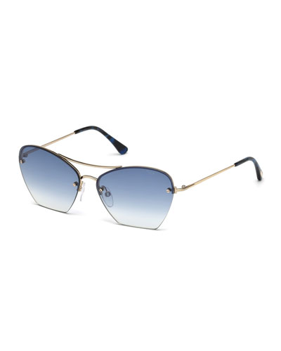 Annabel Cutoff Aviator Cat-Eye Sunglasses, Rose/Blue