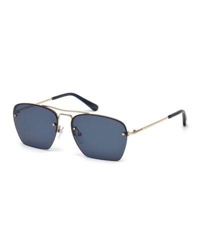 Walker Cutoff Aviator Sunglasses, Blue/Rose