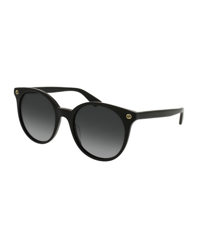 Round Gradient Acetate Sunglasses, Black