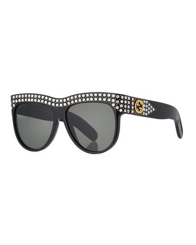 Swarovski Crystal Square Logo Sunglasses