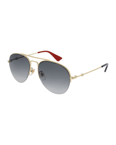 Metal Aviator Sunglasses, Gold/Gray