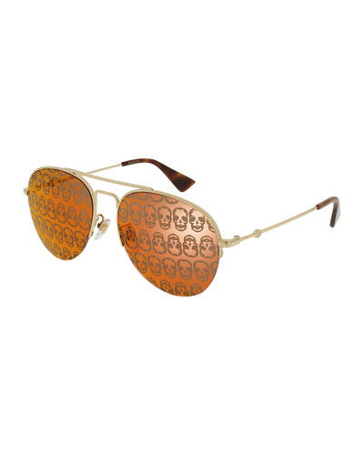 Metal Skull Aviator Sunglasses, Gold/Orange