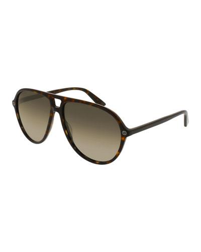 Acetate Aviator Sunglasses, Brown Tortoise