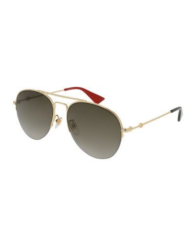Metal Aviator Sunglasses, Gold/Brown