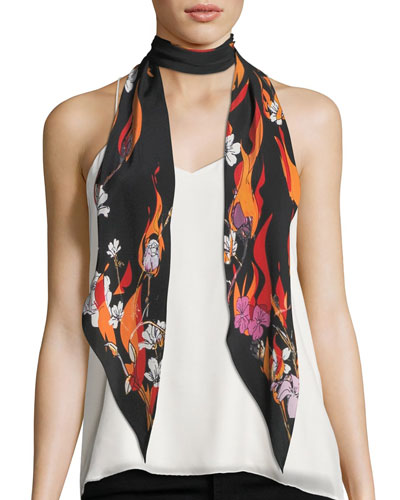Flowers and Flames Classic Skinny Scarf