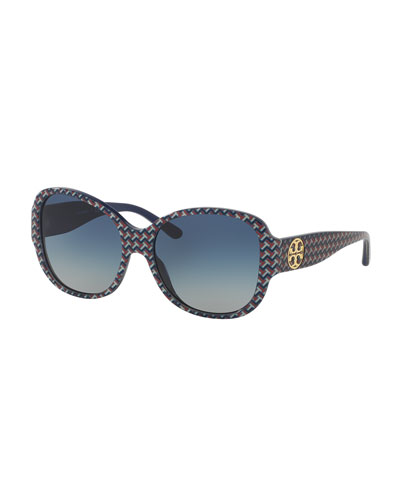 Logo Butterfly Sunglasses, Blue/Multicolor
