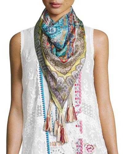 Rev Floral-Print Silk Scarf
