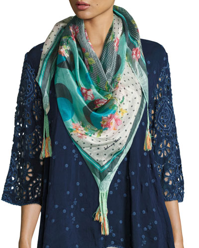 Freemont Floral-Print Silk Scarf