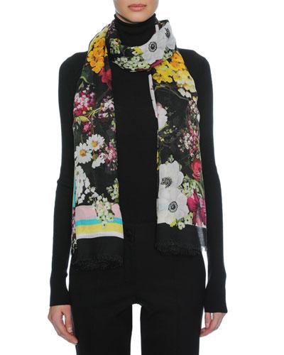 Floral Bouquet Modal-Cashmere Scarf, Black