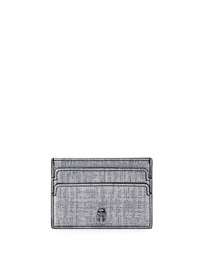 Skull Leather Card Case, Gray Metallic