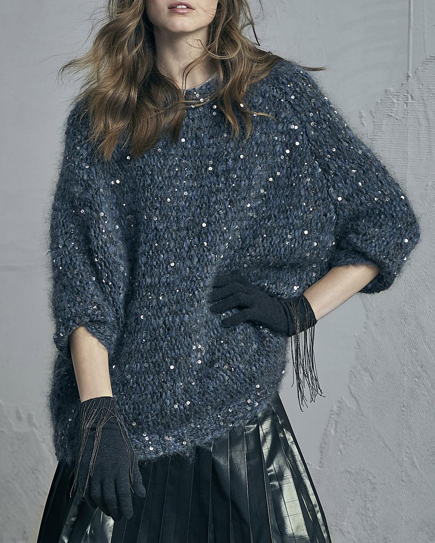 Cashmere Gloves with Monili Waterfall Fringe, Dark Gray
