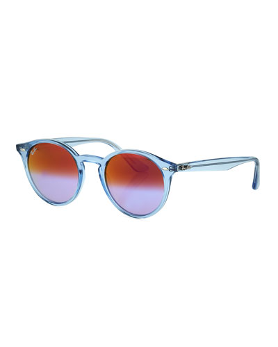 Round Mirrored Iridescent Sunglasses, Blue