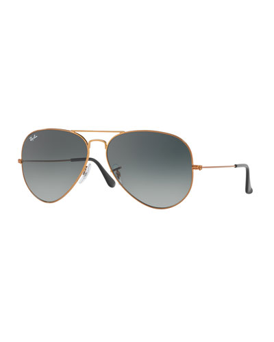 Aviator Large Metal II Oversized Sunglasses, Brown/Gray