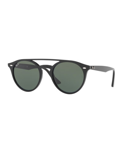 Round Brow-Bar Sunglasses, Black/Green