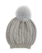 Bailey Slouchy Fur Pompom Beanie Hat