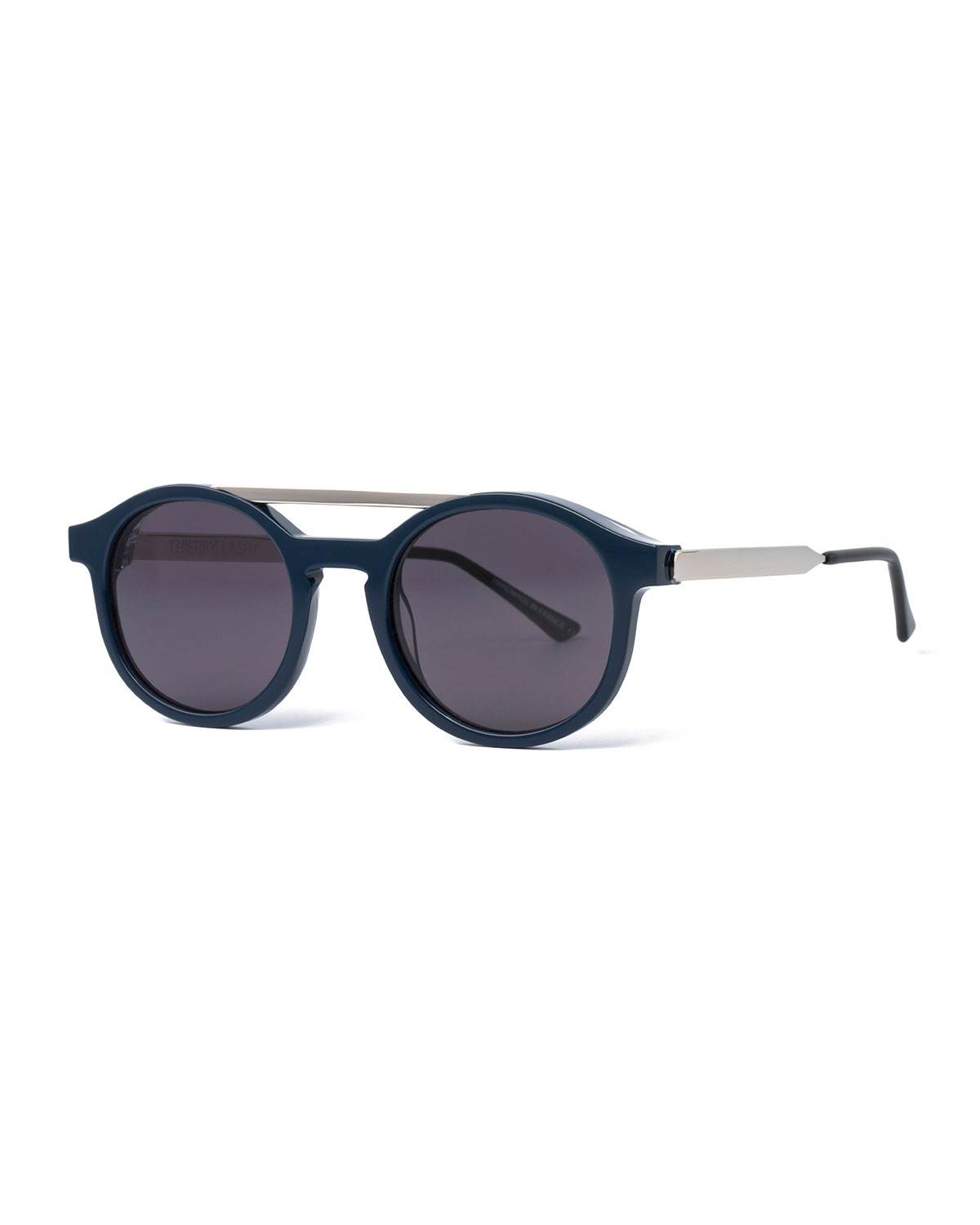 Thierry Lasry FANCY ROUND BROW-BAR SUNGLASSES, BLUE
