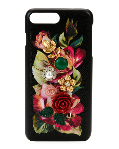 Floral Embellished Phone Case, Black