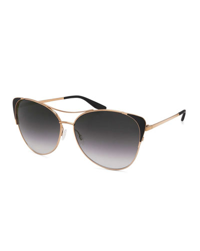 Raphina Cat-Eye Aviator Sunglasses, Jet/Gold