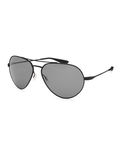 Commodore Polarized Aviator Sunglasses, Black Satin/Nocturnal