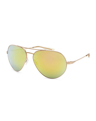 Commodore Mirrored Aviator Sunglasses, Gold/Egyptian